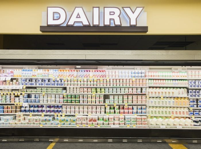 dairy section in a supermarket