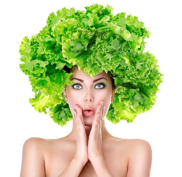 woman with lettuce as hair