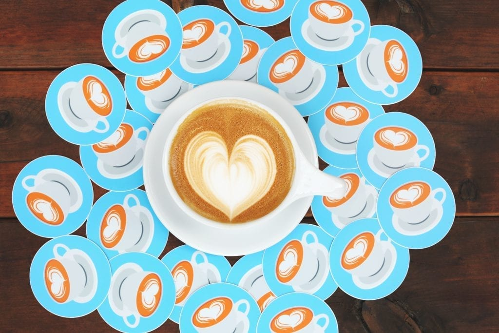 coffee cups with love hearts
