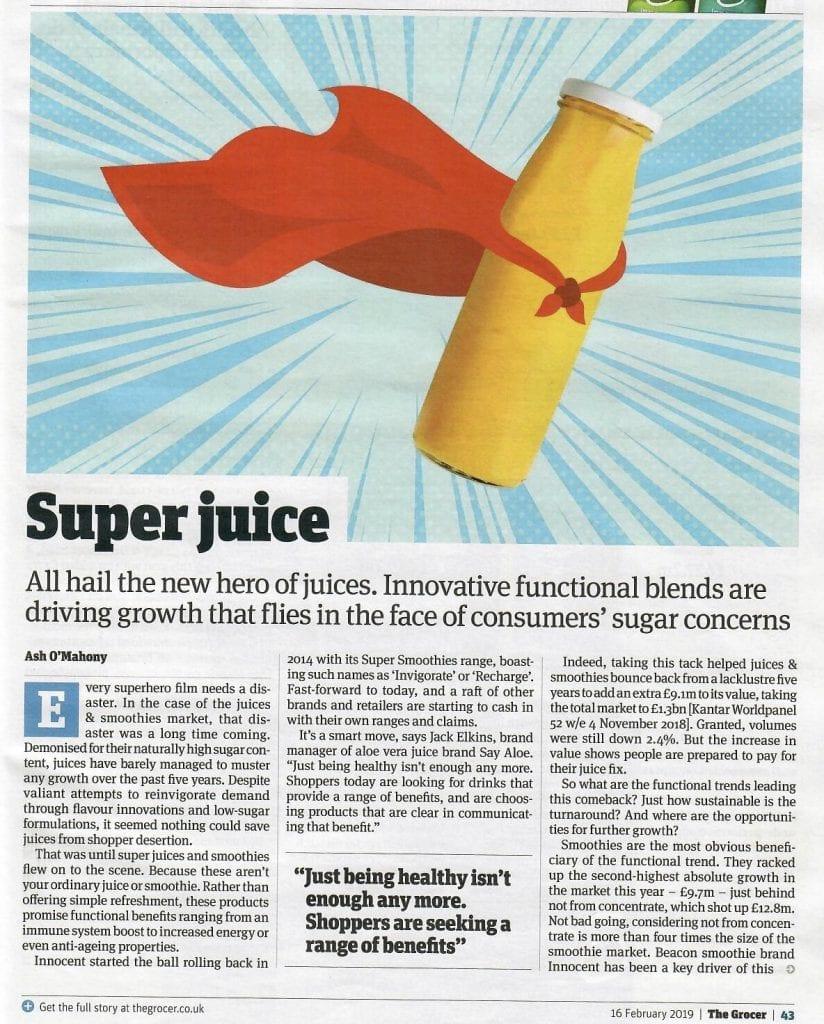 newspaper article on super juice