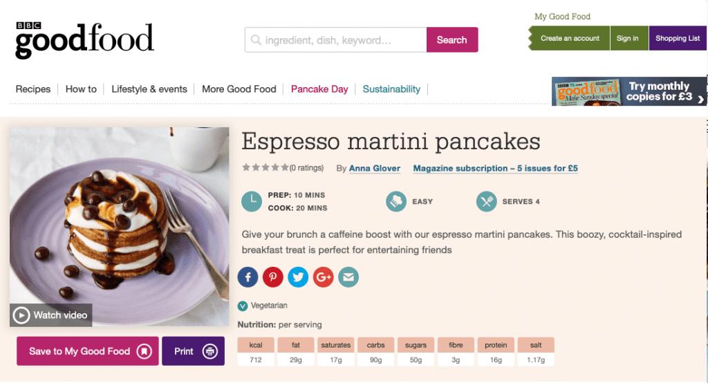 good food espresso martini pancakes