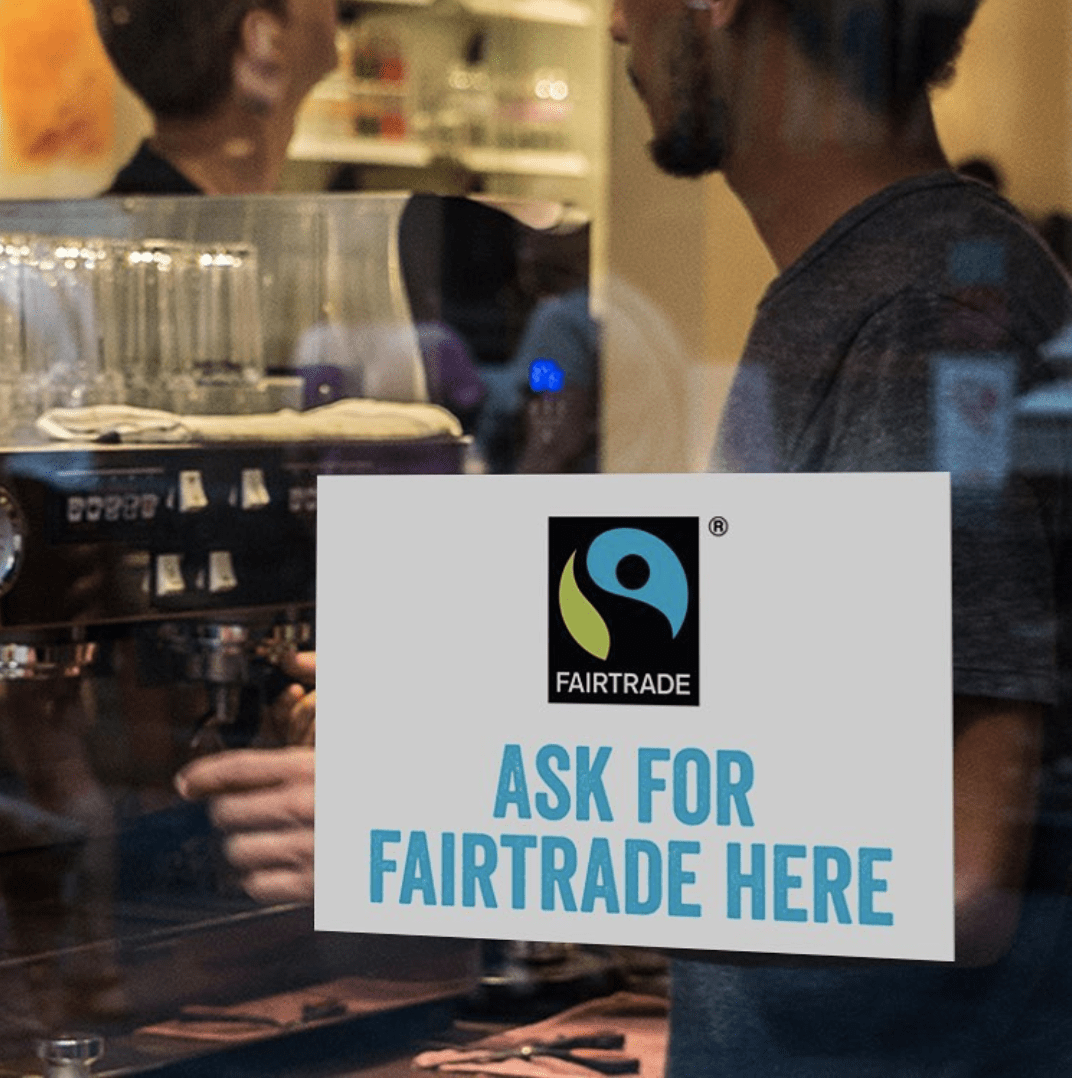fairtrade sign at food market research event