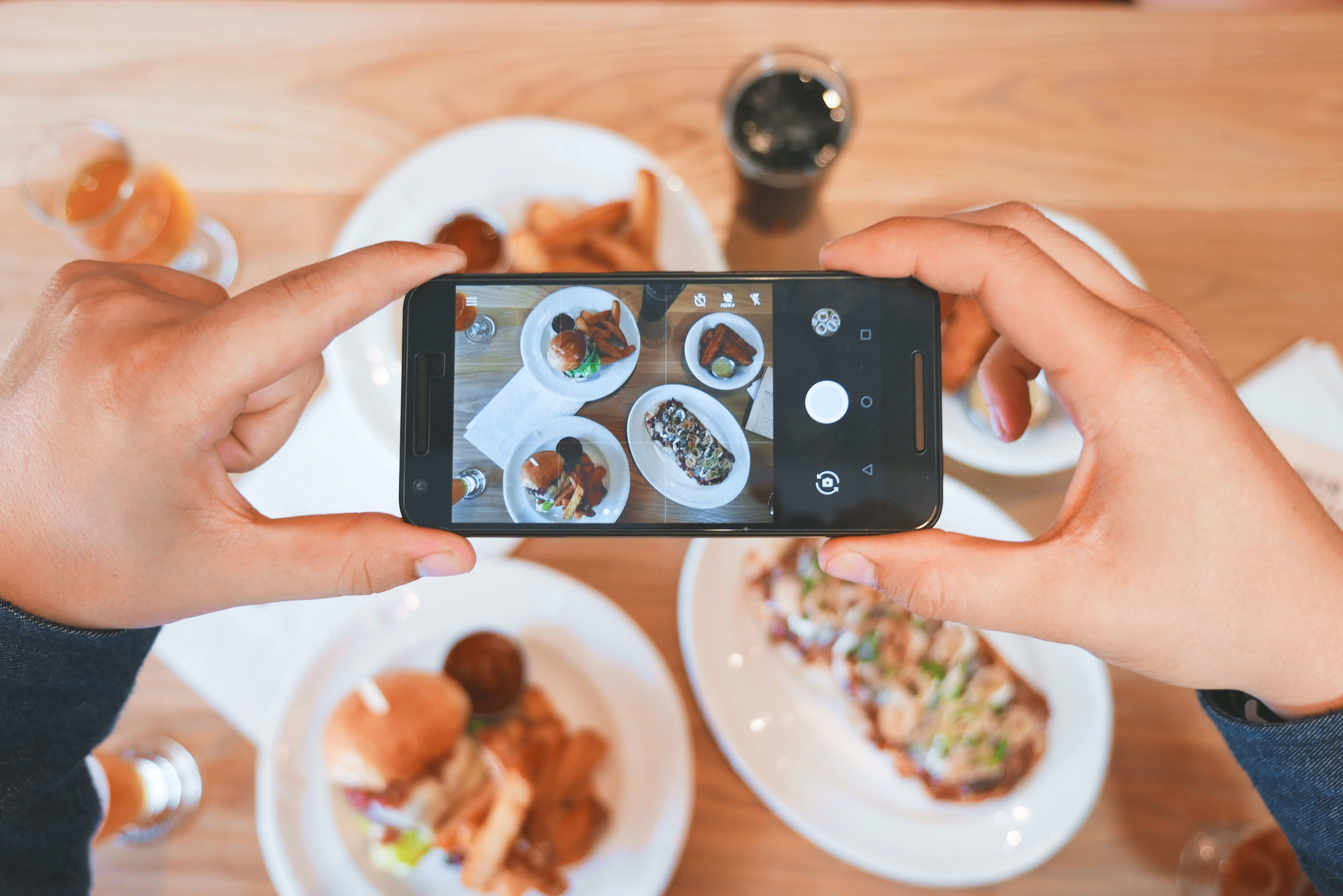 taking a photo of meals