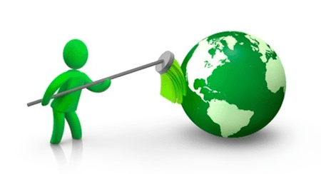 green globe and figure with brush