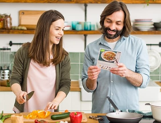 couple using a meal kit