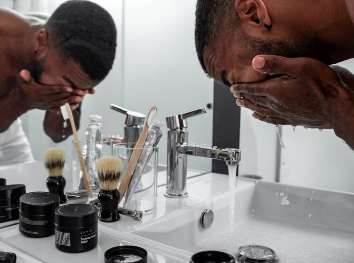 man with beauty products