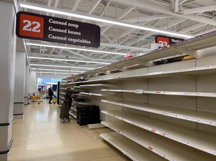 empty shelves in sainsbury's